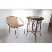Table rotin et osier Vintage