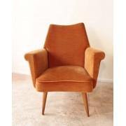 Fauteuil années 60 velours orange