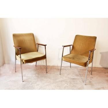 Paire de fauteuils velours année 60/70